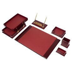 Wooden Prestige Desk Set Claret 8 Accessories